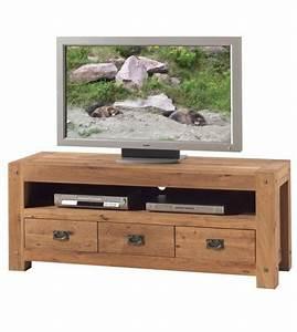 Meuble Tv En Chene : meuble tv 3 tiroirs lodge ~ Teatrodelosmanantiales.com Idées de Décoration