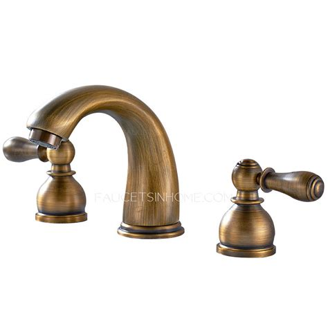 cold water faucet antique brass two handles wide spread three bathroom