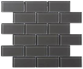 gray kitchen backsplash charcoal gray glass 2x4 mosaic subway tile