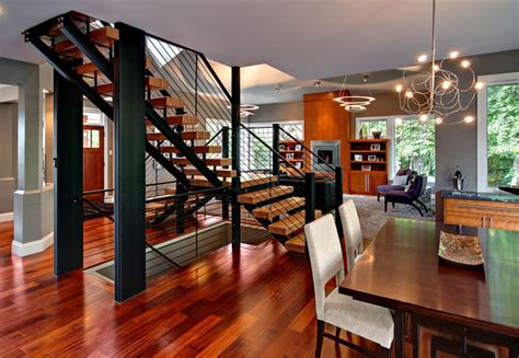amazing staircase contemporary dining room