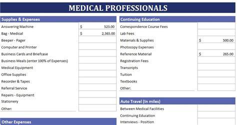 medical professionals expense calculator estimate