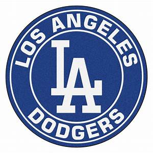 "Los Angeles Dodgers Logo Roundel Mat - 27"" Round Area Rug"