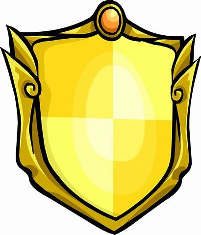 Shield Golden Medieval Clipart Icon Penguin Transparent