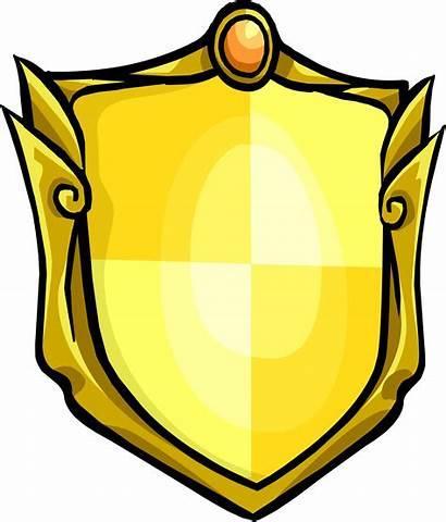 Shield Golden Medieval Clipart Icon Penguin Transparent