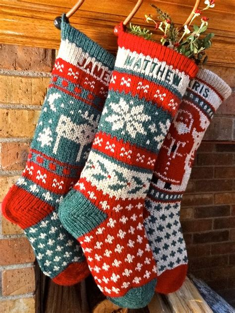 knit christmas stockings   authentic red green