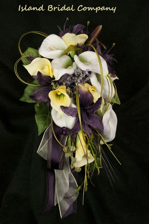 bride wedding bouquet silk flowers calla lily ivory yellow
