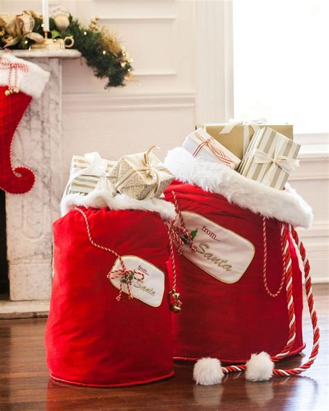 red santa sack for babies pictures gift idea velvet santa bag 29 00 celebrate with balsam hill