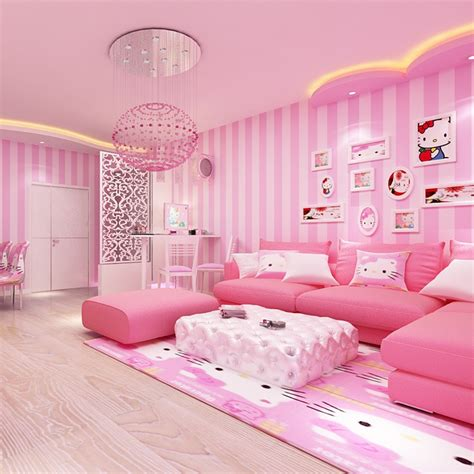 beibehang modern simple wide striped pink wallpaper cute