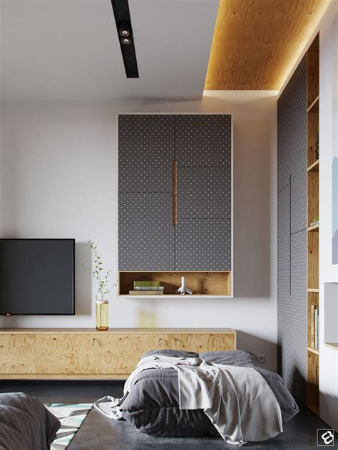 Modern interior with plywood decor elements Flat