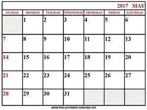 May 2017 Calendar Printable Org