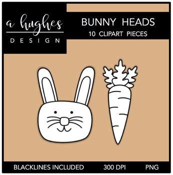 bunny heads clipart ashley hughes design  ashley