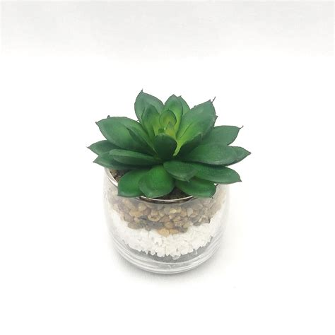 กุหลาบหินปลอมพร้อมแก้ว แต่งด้วยหิน 3 สี 3 ชั้น Succulent ...