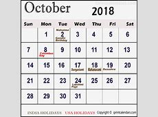 October 2018 Calendar With Holidays 2018 printable calendar