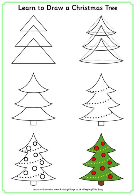 how to draw christmas tree learn to draw a tree