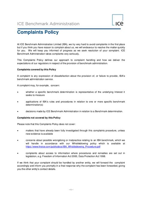 examples  complaint policy   examples