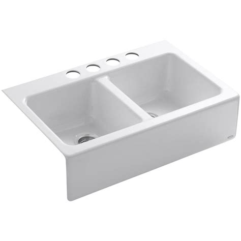 undermount kitchen sink with faucet holes shop kohler hawthorne 22 12 in x 33 in white double basin cast iron undermount 4 hole