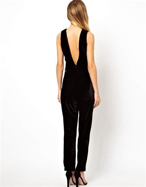 black velvet jumpsuit glamorous jumpsuit in velvet in black lyst