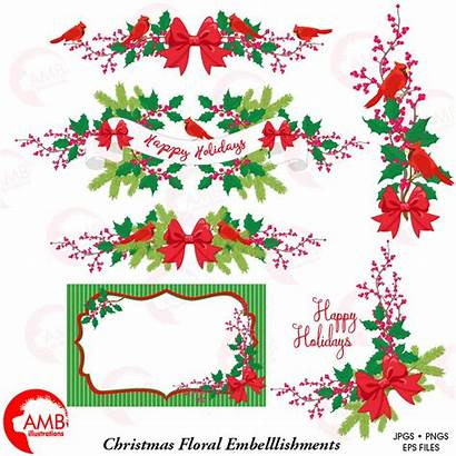 Christmas Clipart Floral Banner Clip Amb 1498