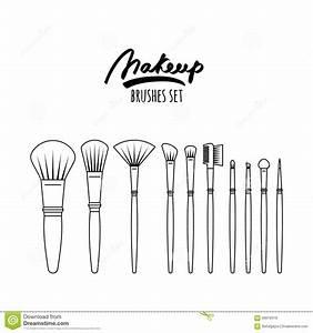 Makeup Brushes Kit  Isolated On White Background  Stock