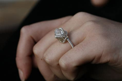 unique diamond engagement rings wedding jewelry with herkimer stone 1