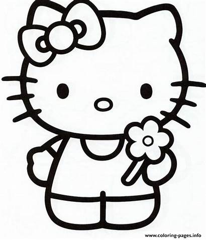 Girly Coloring Pages Kitty Hello Printable Flower