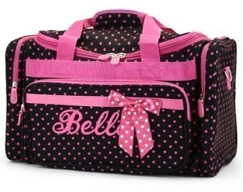 personalized duffle bag black pink polka dots dance  parsik