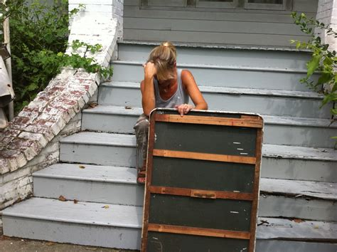 yard sale adventures moving heavy furniture while giggling