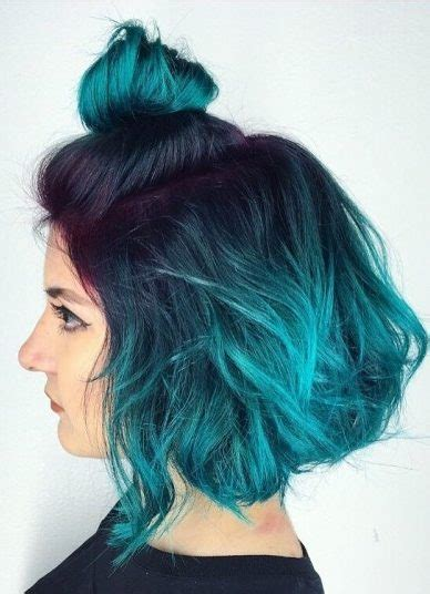 perfect turquoise hair color ideas   distinctive style short hair models