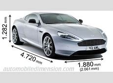 Dimensions of Aston Martin cars showing length, width and