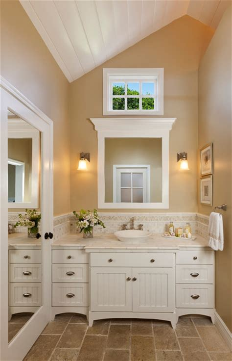 Classic bath vanity with lots of storage   Traditional