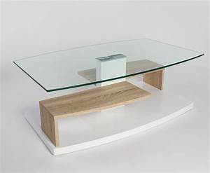 Table Salon Verre Et Bois Table Basse Ajustable