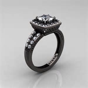 gold cubic zirconia engagement rings renaissance classic 14k black gold 1 23 ct princess cubic zirconia engagement ring r220p