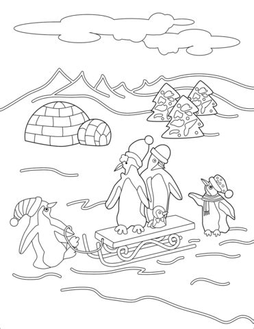 Christmas Penguins coloring page Free Printable Coloring
