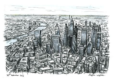 aerial view  city  london skyscrapers   future