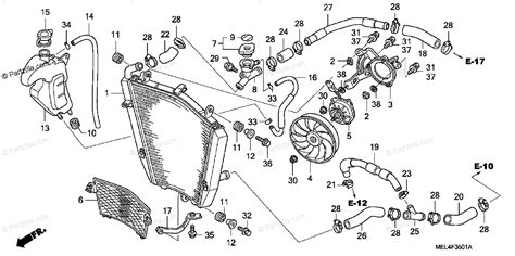 honda motorcycle 2007 oem parts diagram for radiator 2 partzilla