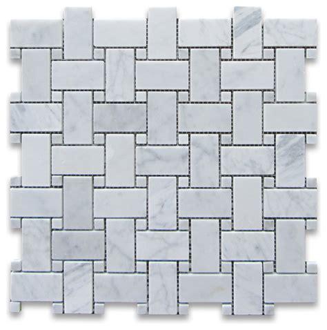 carrara white marble basketweave mosaic tile carrara dots