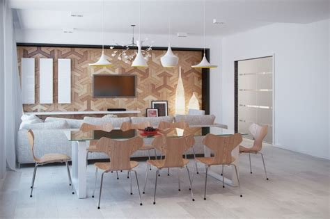 interesting light wood accents and furnishings add