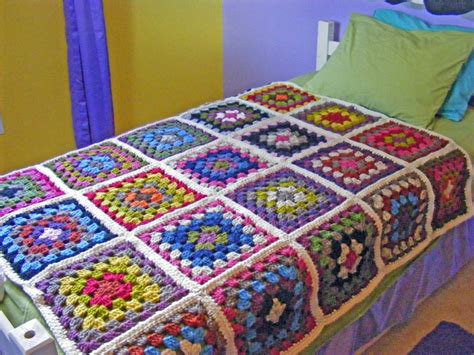 Crochet Granny Square Blanket, Twin Or Full Bed Crochet Granny Square… Moby Swaddle Blanket Recipe For Pigs In A With Cabbage Pic Nic Woolen Blankets Online Shopping Borders Crochet Photo To Woobie Military Colorful Mexican