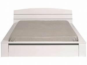 Lit 160x200 Tiroir : lit adulte 160x200 cm tiroir split coloris blanc ~ Teatrodelosmanantiales.com Idées de Décoration