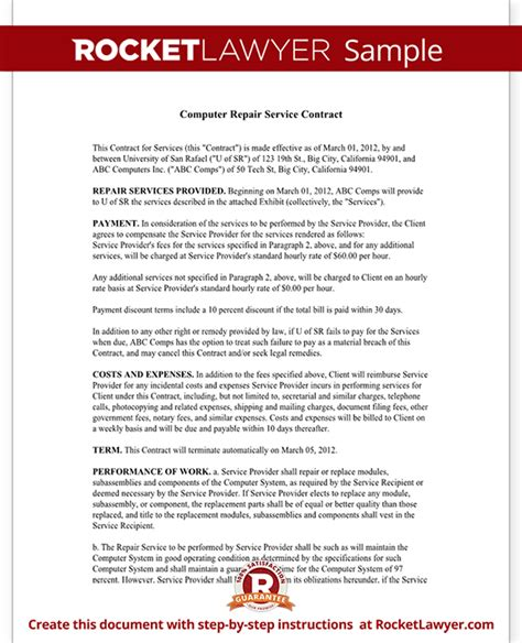 Computer Support Contract Template by Computer Service Contract Repair Computer Template