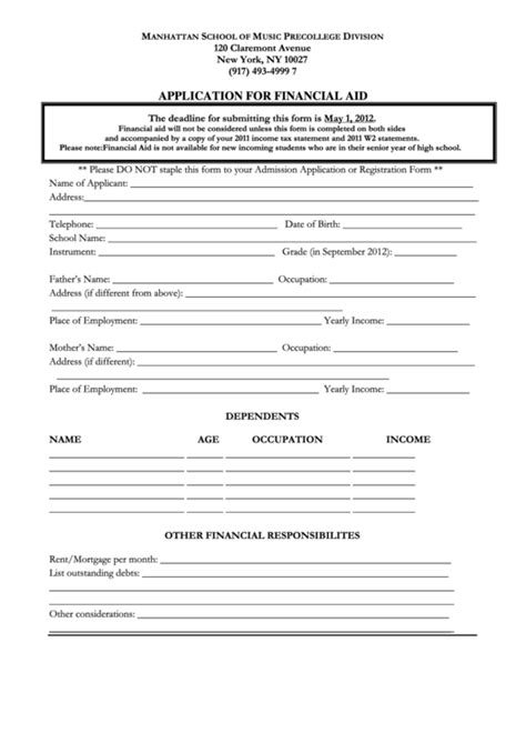 application  financial aid printable