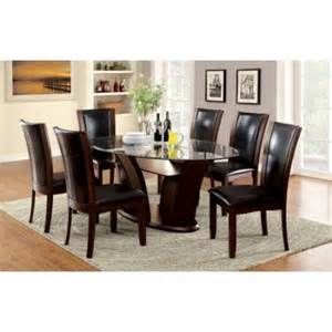 furniture of america lavelle 7 piece tempered glass top