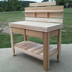 Cedar, Potting, Table, With, Drawers