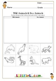 wild animals  sea animals worksheetsprintable cut
