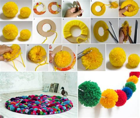 cute colorful diy pom pom crafts  ideas video included