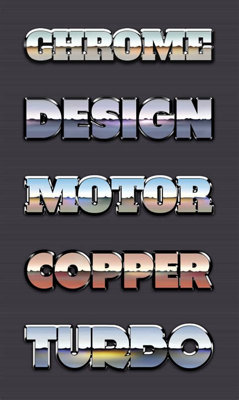 chrome reflection text styles vol graphicburger