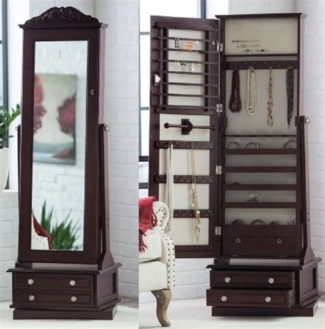 Floor Jewelry Armoire With Mirror by Wooden Jewelry Armoire In Swivel Cheval Length Floor