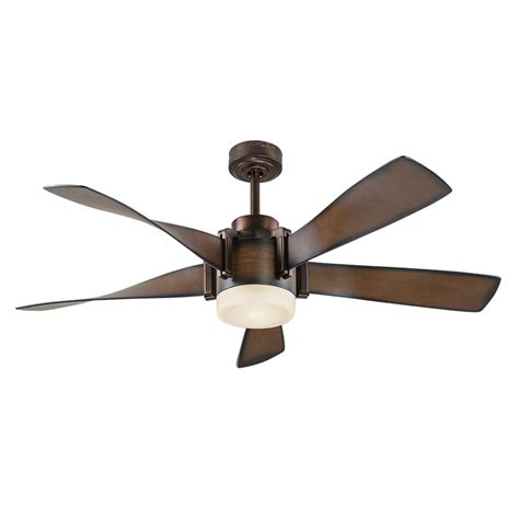 lowes ceiling fans with led lights shop kichler 52 in mediterranean walnut with bronze