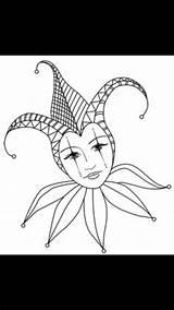 Jester Coloring Drawing Mask Court Adult Costume Karneval Maske Mardi Gras Joker Decorations sketch template