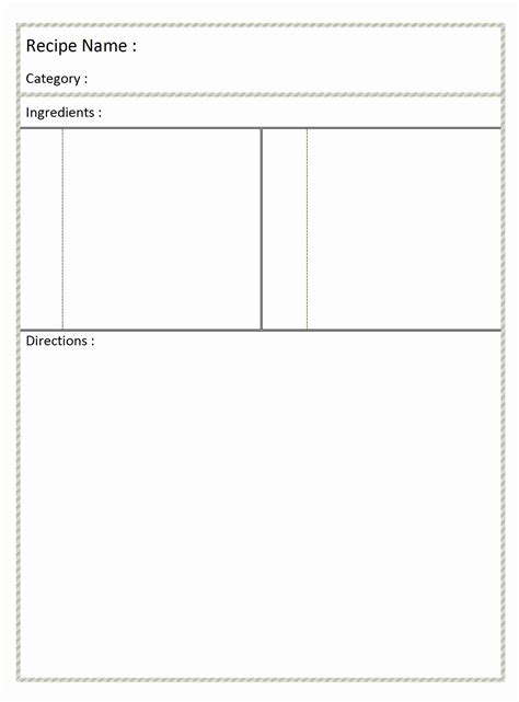 Page Recipe Template For Word by 7 Best Images Of Printable Blank Recipe Templates Free